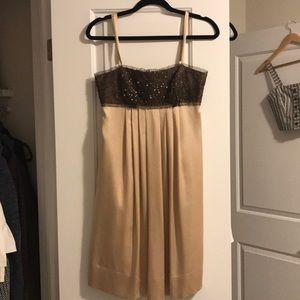 BCBG Maxazria Beaded Silk Champagne Dress Size 4